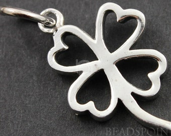 Sterling Silver Clover Charm / Pendant with Jump Ring, Inspirational Jewelry Component, (SS/CH4/CR40)
