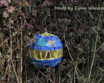 Blue mosaic ball home decor