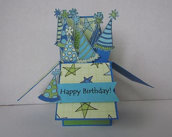 Pop Up Box Card - Happy Birthday. Birthday Hat pop-up box card. Three Dimensional card. Blue and Green card. Fun Card. Unique.Happy Birthday