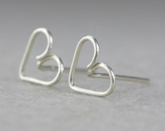 5.99-9.99 dollars Sterling silver heart stud earrings Valentine's day gifts Free US Shipping handmade Anni Designs