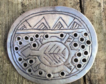 Vintage Native American Silver Stamped Brooch- Mountain Range and Turtle