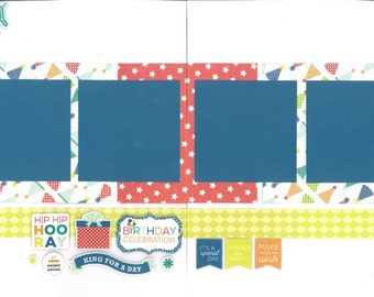 12x12 HAPPY BIRTHDAY BOY scrapbook page kit, premade scrapbook, 12x12 premade scrapbook page, premade scrapbook page, 12x12 scrapbook layout