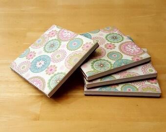 Coasters, Flower Decor, Coaster Set, Tile Coasters, Housewarming Gift, Home Decor, Gift Idea, Ceramic Tile Coasters, Birthday Gift
