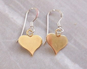 Gold Vermeil Heart Drop Earrings