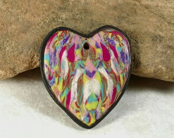 Heart Pendant, Colorful Pendant,  Polymer Clay,  Multi-Colored Heart, Jewelry Supplies