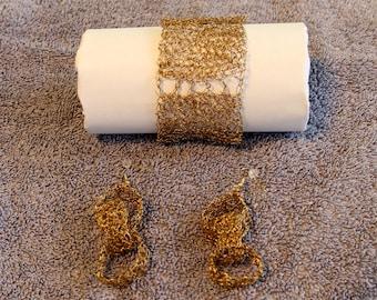 Gold Wire Crocheted Bracelet and Earrings
