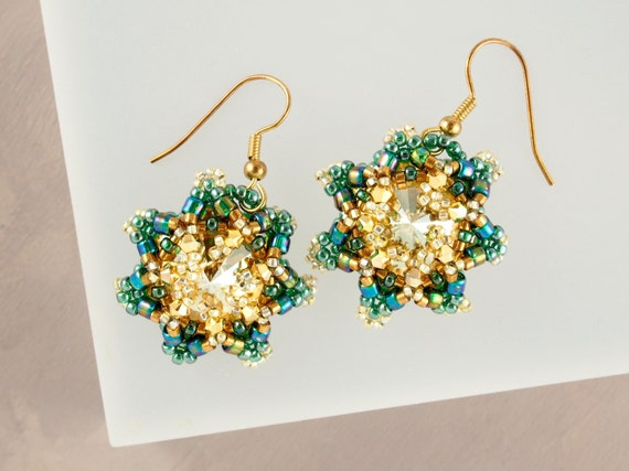Iridescent Emerald Green & Gold Earrings