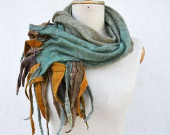 turquoise mustard fringe scarf, ombre Angora wool felt dread hand dayed pure soft wool, delicate transparent openwork unique art to wear 112