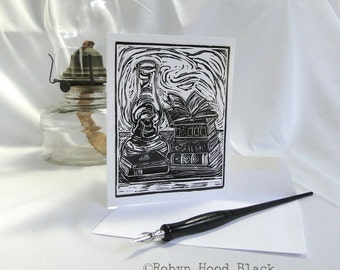 Oil Lamp and Vintage Books Single Card with Optional Mat