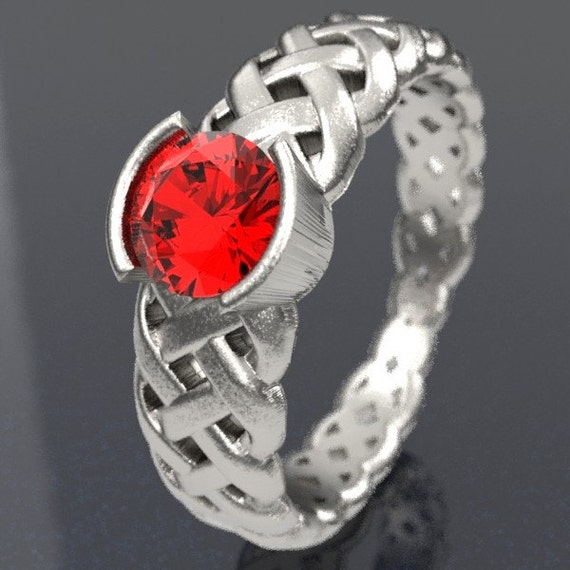 Celtic Ruby Engagement Ring With Braided Cut-Through Knotwork Design in Sterling Silver, Made in Your Size CR-760