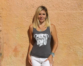 Bulldog/ English Bulldog Tank Top for women in Metal Gray - Plus Sizes available - Supports Animal Rescue