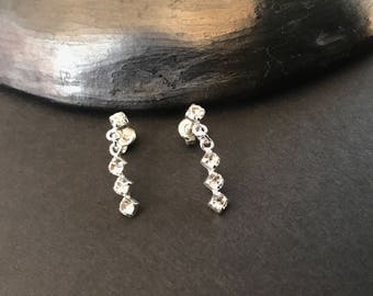 Sterling silver dainty clear crystal stud earrings sparkly for wedding prom party formal dance