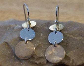 Tri metal earrings, vintage earrings, Sterling earrings, modernist earrings, rose gold earrings, gold and silver earrings