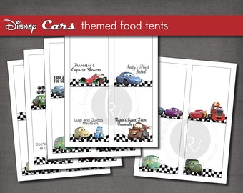 Disney Cars themed party food label tent cards, printable file, Instant Digital Download