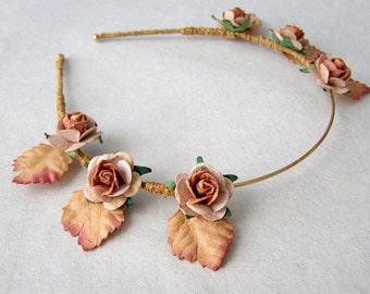 Fawn Roses Laurel Flower Headband