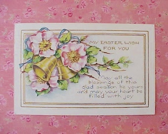 Beautiful 1923 Era Postcard with Easter Bells and Wild Pink Roses