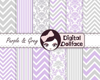 Purple and Gray Digital Paper Pack, Lavender and Grey Nursery Clip Art, Chevron