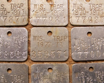 Vintage Wisconsin Trap Tags - Set of 4