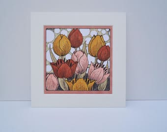 Tulips Stamped Coloured Mounted Artwork