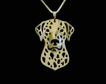 Dalmatian jewelry - gold pendant and necklace.