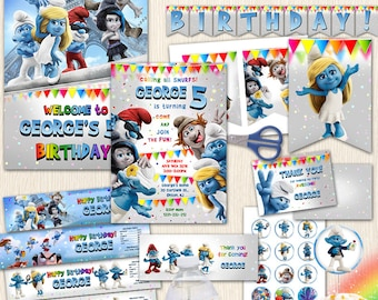 Smurfs Big Birthday Set. Invitation. Welcome Sign. Banner Garland. Cupcake Toppers. Bottle Labels. Party Supplies. Great Package. Any Age.