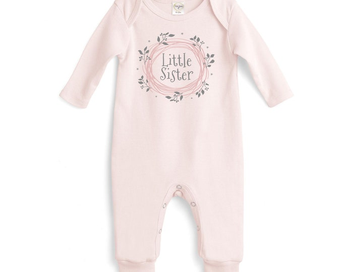 Little Sister Newborn Girl Coming Home Outfit, Pink Newborn Girl Onesie, Baby Girl Take Home Romper, Baby Sister Onesie Tesababe