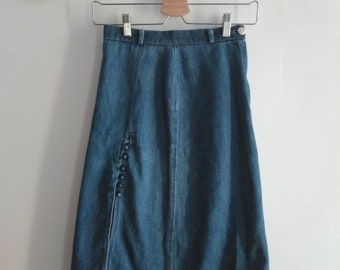Vintage denim midi skirt with Cheongsam inspired thigh split to front. Extra Small XS. 80s 90s