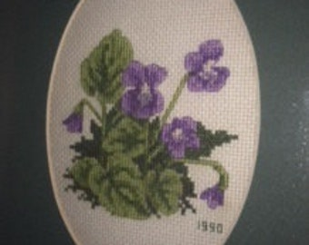 Framed Cross-Stitched Pansies