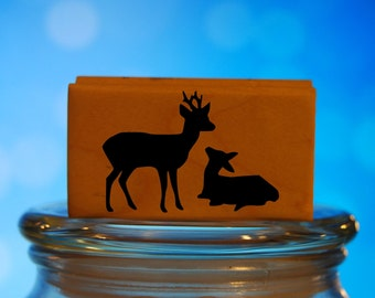 Baby Deer Rubber Stamp Mounted Wood Block Art Stamp