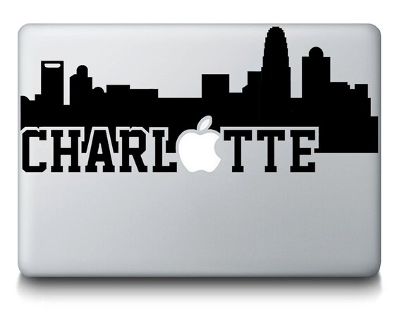 Charlotte skyline city silhouette macbook vinyl decal sticker