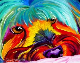 Maltese Terrier, Pet Portrait, DawgArt, Dog Art, Pet Portrait Artist, Colorful Pet Portrait, Maltese Art, Pet Portrait Painting, Art Prints