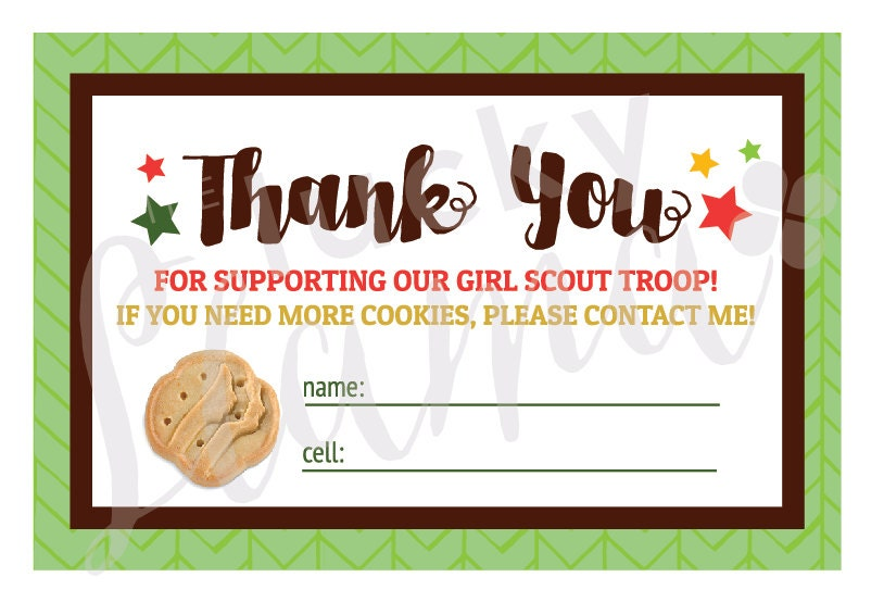 2018 girl scout cookie thank you cards printable