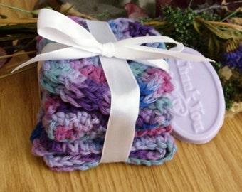 Wash Cloth Set - Face Cloth Set - Cotton Wash Cloth Set - Cotton Face Cloth Set - Purple Wash Cloth Set - Purple Face Cloth Set