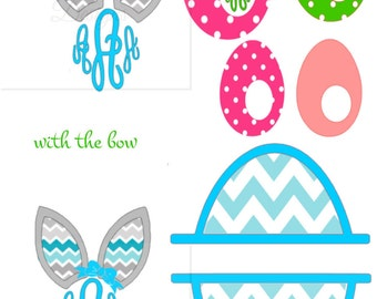 Easter Monogram Bows and Eggs and Bunny Ears svg and studio compatible files