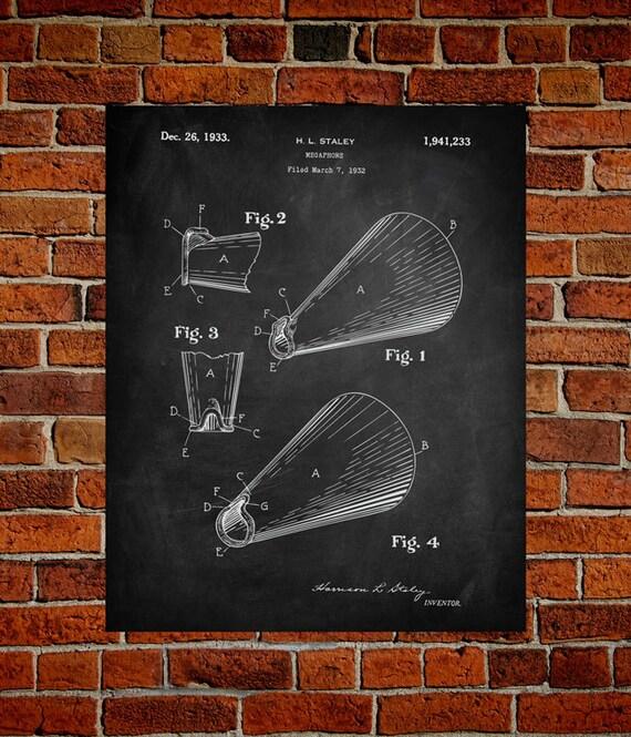 Megaphone fine art print patent vintage art blueprint malvernweather Gallery