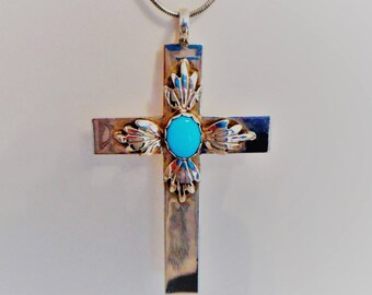 Native American Sterling Silver & Turquoise Pendant Cross. Large Vintage Navajo NA Cross Necklace. Signed DO. Religious Spiritual Jewelry.