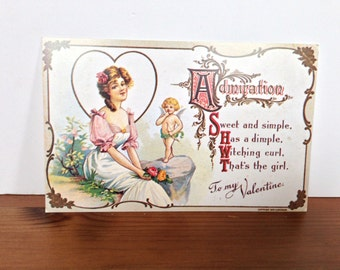 Vintage postcard to my Valentines antique reproduction post card