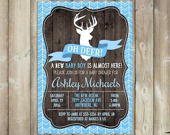 Deer Baby Shower Invitation - Oh Deer Boy Baby Shower Invite - DIGITAL FILE