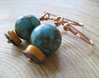 Seaside Copper Earrings Rustic Stone Turquoise & YellowEarrings Handmade Jewelry Design Bohemian Jewelry San Diego California USA by Kila