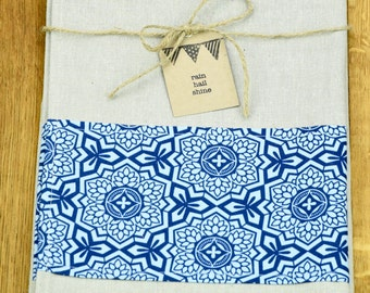 Hemp and Organic Cotton Tea Towel with Blue Moroccan Tile Design