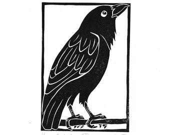 Linocut of an Australian Raven in Traditional Black, Australian Bird Print, Printmaking, Lino Print