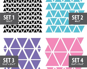 230 Assorted Vinyl Triangles Wall Decals, High Quality Removable Wall Decals, Home Decor, Wall Decor, Window Decal, Nursery, Kids Room