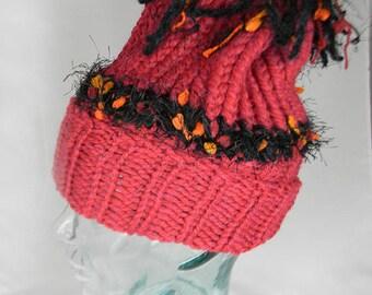 Hand Knit Slouchy Hat, Hand Knit Winter Hat, Boho/Rasta Style