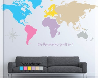 Map wall decal - World map wall decal - Colorful world map decor - World map - Map wall decor - Large World Map  art - Nursery decoration
