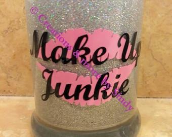 Makeup brush holder/Glittered brush holder/Vanity Decor/Makeup Artist Gift/Gift for Her/Girly Things