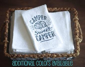 Camper Sweet Camper Kitchen Towel, Dish Towel, RV Accessories, Travel Trailer Decor, Vintage camper, Glamping, Motorhome, Camping Decor