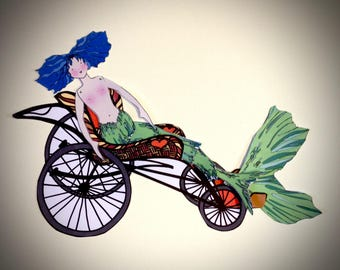 Mermaid Carriage: Wheelchair for Paper Cut Out Doll
