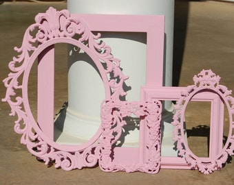 Shabby Chic Picture Frames - PICTURE FRAME Set - Antique Frames - Nursery - Pink Wall Gallery Frame
