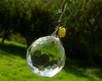 Suncatcher- Hanging Crystal Suncatcher -Rose Trail Yellow