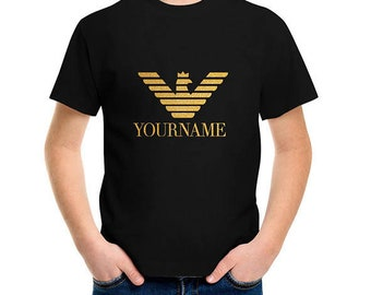 PERSONALIZED kids toddlers unisex Emporio Armani style  black T-SHIRT, printed top for boys and girls, your own name top, eagle with crown